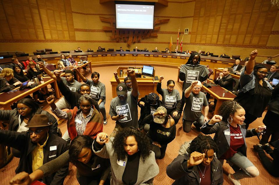 A delegation demonstrates over the policing of Black students before the Peel District School Board in Mississauga, Ontario, on March 10, 2020.