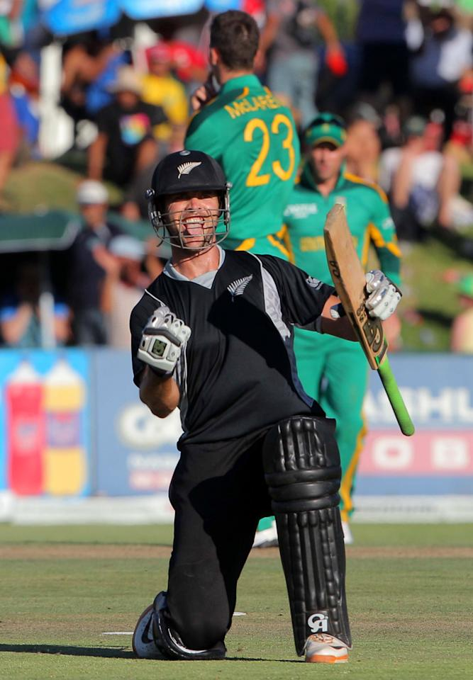 PAARL, SOUTH AFRICA - JANUARY 19: James Franklin of New Zealand celebrates hitting the winning runs during the 1st One Day International match between South Africa and New Zealand at Boland Park on January 19, 2013 in Paarl, South Africa.  (Photo by Carl Fourie/Gallo Images/Getty Images)
