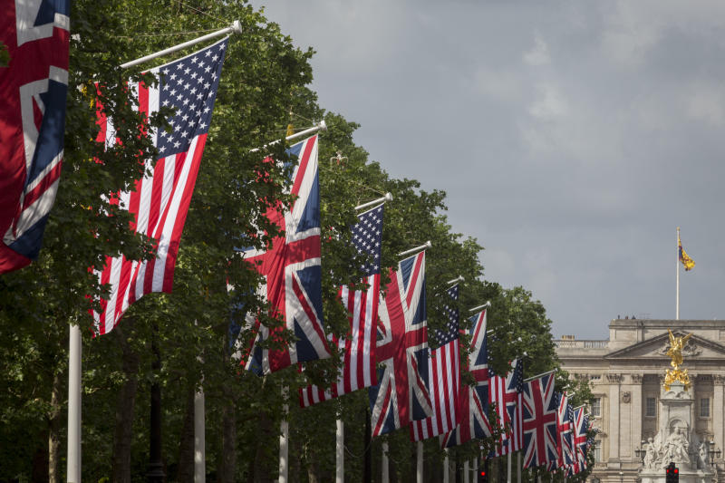 On US President Donald Trump's first day of a controversial three-day state visit to the UK by the 45th American President, The US Stars and Stripes hangs next to British Union Jack flags down the Mall and opposite Buckingham Palace, on 3rd June 2019, in London England. (Photo By Richard Baker / In Pictures via Getty Images Images)
