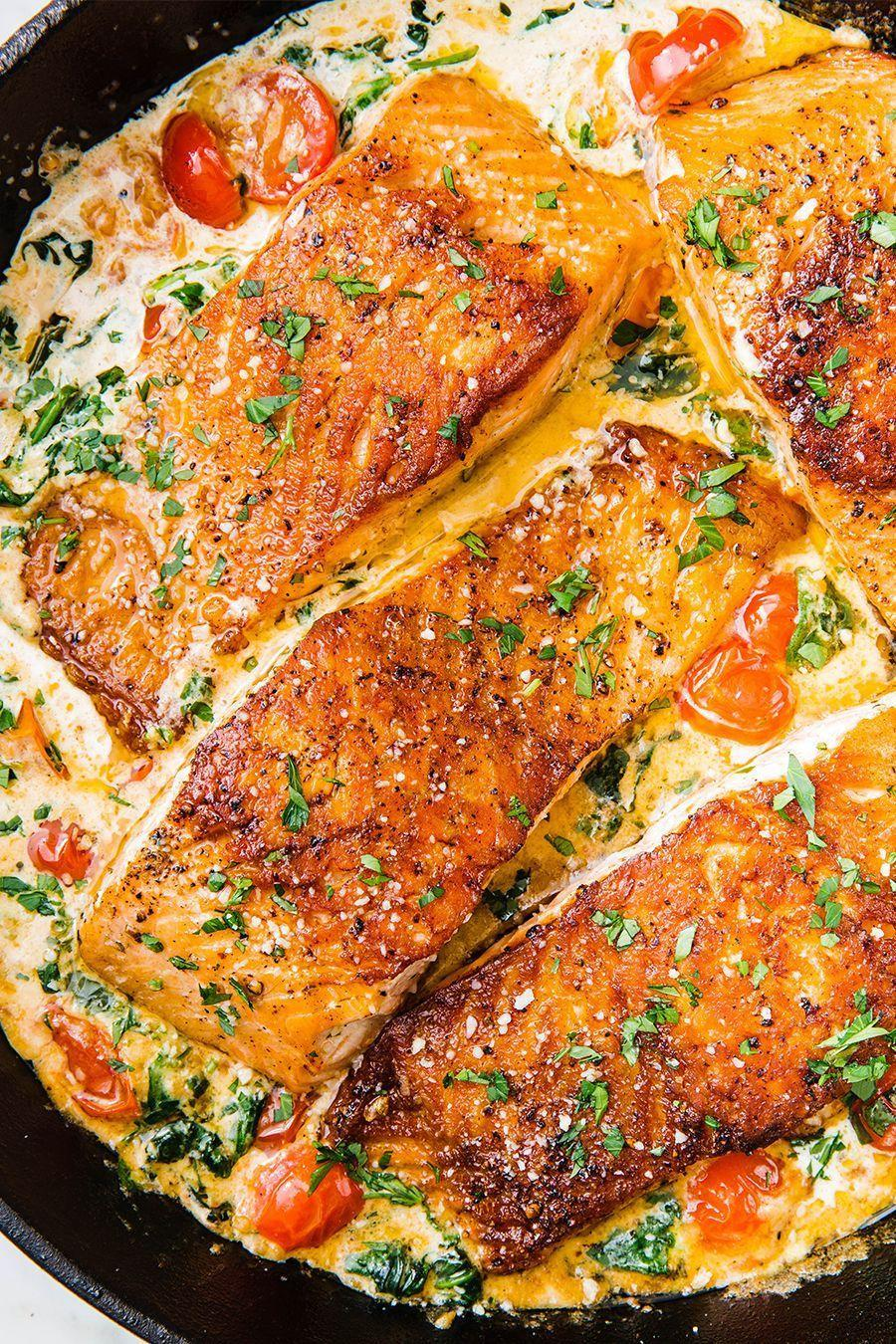"""<p>Your new favorite salmon recipe.</p><p>Get the recipe from <a href=""""https://www.delish.com/cooking/recipe-ideas/recipes/a58412/tuscan-butter-salmon-recipe/"""" rel=""""nofollow noopener"""" target=""""_blank"""" data-ylk=""""slk:Delish"""" class=""""link rapid-noclick-resp"""">Delish</a>. </p>"""