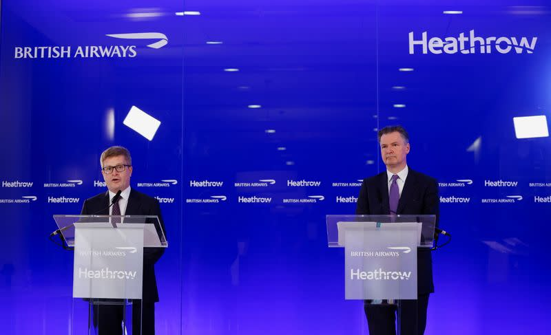 Heathrow Airport CEO Holland-Kaye and British Airways CEO Doyle hold a joint news conference in London