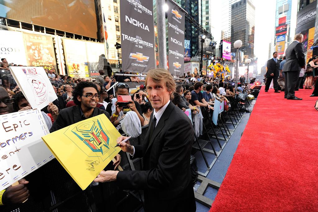 """<a href=""""http://movies.yahoo.com/movie/contributor/1800020334"""">Michael Bay</a> at the New York City premiere of <a href=""""http://movies.yahoo.com/movie/1810159115/info"""">Transformers: Dark of the Moon</a> on June 28, 2011."""