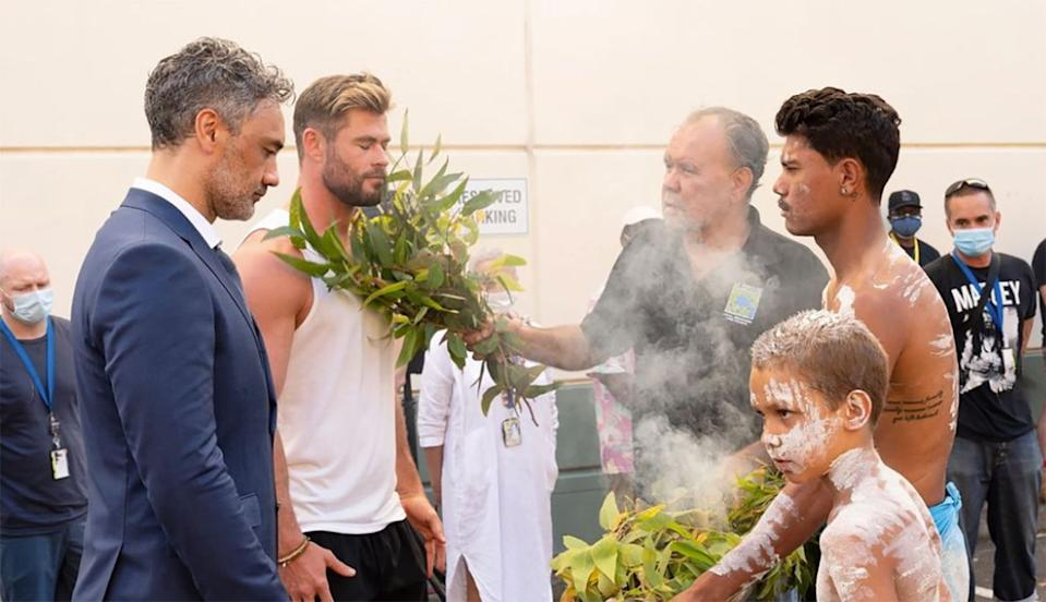 Taika Waititi and Chris Hemsworth receive a blessing as production on Thor: Love and Thunder begins. (Instagram)