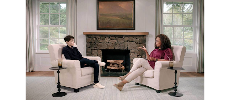 Oprah Winfrey speaks with actor and advocate Elliot Page on The Oprah Conversation. (Photo: The Oprah Conversation/Apple TV+)