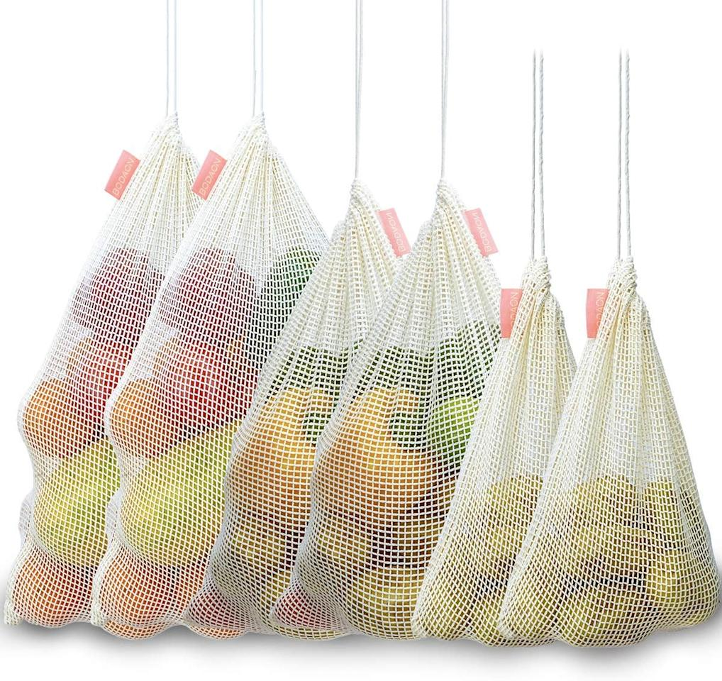 "<p>Bring these <a href=""https://www.popsugar.com/buy/Bodaon-Reusable-Organic-Cotton-Mesh-Produce-Bags-546562?p_name=Bodaon%20Reusable%20Organic%20Cotton%20Mesh%20Produce%20Bags&retailer=amazon.com&pid=546562&price=14&evar1=moms%3Aus&evar9=45965662&evar98=https%3A%2F%2Fwww.popsugar.com%2Ffamily%2Fphoto-gallery%2F45965662%2Fimage%2F47181050%2FBodaon-Reusable-Organic-Cotton-Mesh-Produce-Bags&list1=shopping%2Camazon%2Cenvironment&prop13=api&pdata=1"" rel=""nofollow"" data-shoppable-link=""1"" target=""_blank"" class=""ga-track"" data-ga-category=""Related"" data-ga-label=""https://www.amazon.com/Bodaon-Reusable-Vegetable-Shopping-Drawstring/dp/B07V1RDJHC/ref=sr_1_44?keywords=reusable+products&amp;qid=1580854515&amp;sr=8-44"" data-ga-action=""In-Line Links"">Bodaon Reusable Organic Cotton Mesh Produce Bags</a> ($14) to the grocery store and say goodbye to plastic product bags.</p>"