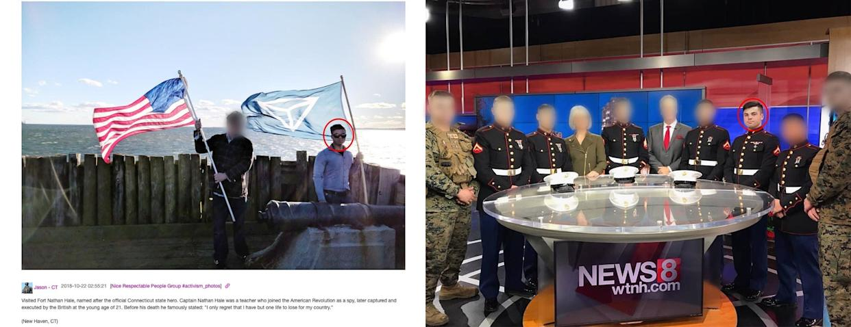 Jason Laguardia posted on the Discord server an image of himself waving an Identity Evropa flag (left). He visited a New Haven, Connecticut, TV station wearing a Marine uniform (right). (Photo: )