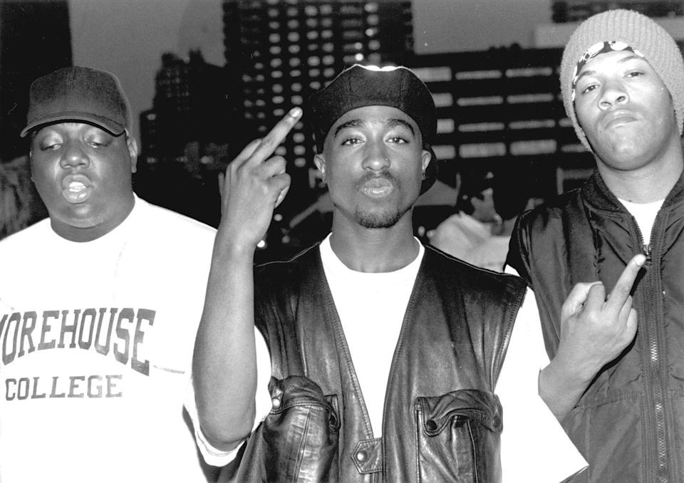 <p>A heavy musical influence, Tupac Shakur was only starting to hit his prime when he was gunned down in September after leaving a Mike Tyson boxing match. Pictured here with Biggie Smalls, who similarly was killed in 1997. </p>
