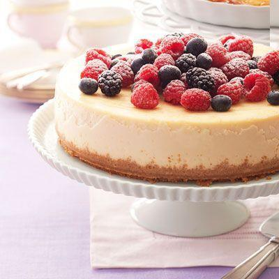 """<p>Fluffy ricotta and a hint of almond extract make this airy berry cheesecake special enough for a celebration.</p><p><em><a href=""""https://www.goodhousekeeping.com/food-recipes/a14957/berry-ricotta-cheesecake-recipe-ghk0413/"""" rel=""""nofollow noopener"""" target=""""_blank"""" data-ylk=""""slk:Get the recipe for Berry-Ricotta Cheesecake »"""" class=""""link rapid-noclick-resp"""">Get the recipe for Berry-Ricotta Cheesecake »</a></em></p>"""