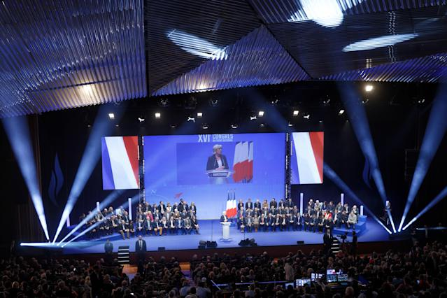 Le Pen was elected over the weekend to a third term as leader of the party whose name remains in flux. (Sylvain Lefevre via Getty Images)