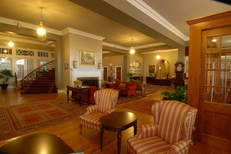 This undated photo provided by The Mimslyn Inn in Luray, Va., shows the lobby of the 82-year-old inn, which was closed for a year in 2007 while undergoing a $3.5 million renovation, including a complete mechanical and cosmetic upgrade. It's important to do your homework when planning a stay at a historic hotel or inn, because while some like The Mimslyn have modernized, others may count on their history or location to appeal to guests who don't mind rustic or old-fashioned accommodations. (AP Photo/Mimsyln Inn)