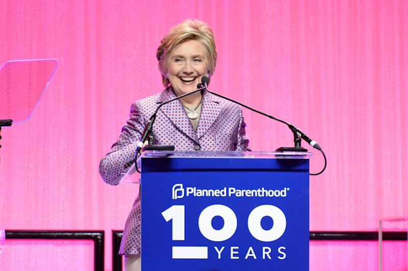 Hillary Clinton speaks onstage at the Planned Parenthood 100th Anniversary Gala in New York: Andrew Toth/Getty Images