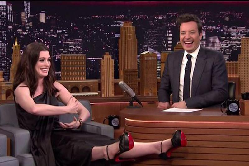 Scared: Anne Hathaway recreates the near-miss on The Tonight Show: The Tonight Show