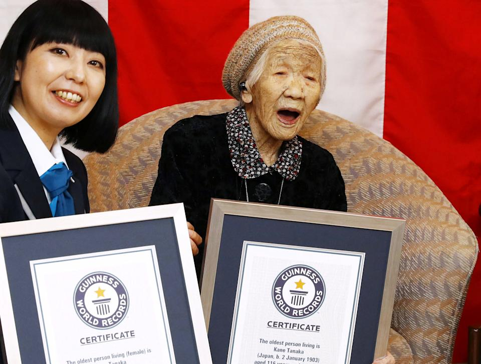 116-year-old Japanese woman Kane Tanaka celebrates during a ceremony to recognise her as the world's oldest person living and world's oldest woman living by the Guinness World Records in Fukuoka, Japan March 9, 2019.  Mandatory credit Kyodo/via REUTERS  ATTENTION EDITORS - THIS IMAGE WAS PROVIDED BY A THIRD PARTY. MANDATORY CREDIT. JAPAN OUT. THIS IMAGE WAS PROCESSED BY REUTERS TO ENHANCE QUALITY, AN UNPROCESSED VERSION HAS BEEN PROVIDED SEPARATELY.