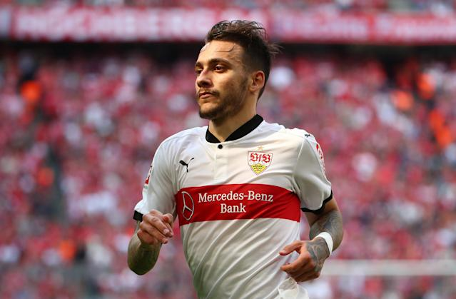 Soccer Football - Bundesliga - Bayern Munich v VfB Stuttgart - Allianz Arena, Munich, Germany - May 12, 2018 Stuttgart's Anastasios Donis celebrates scoring their second goal REUTERS/Michael Dalder DFL RULES TO LIMIT THE ONLINE USAGE DURING MATCH TIME TO 15 PICTURES PER GAME. IMAGE SEQUENCES TO SIMULATE VIDEO IS NOT ALLOWED AT ANY TIME. FOR FURTHER QUERIES PLEASE CONTACT DFL DIRECTLY AT + 49 69 650050