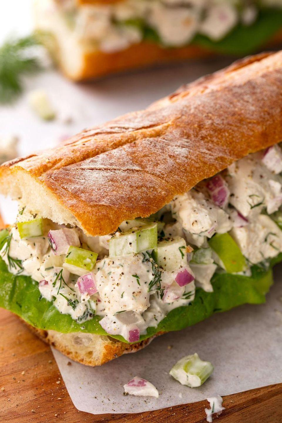 """<p>Just like Mama used to make.</p><p>Get the recipe from <a href=""""https://www.delish.com/cooking/recipe-ideas/recipes/a54787/best-chicken-salad-sandwich-recipe/"""" rel=""""nofollow noopener"""" target=""""_blank"""" data-ylk=""""slk:Delish"""" class=""""link rapid-noclick-resp"""">Delish</a>.</p>"""