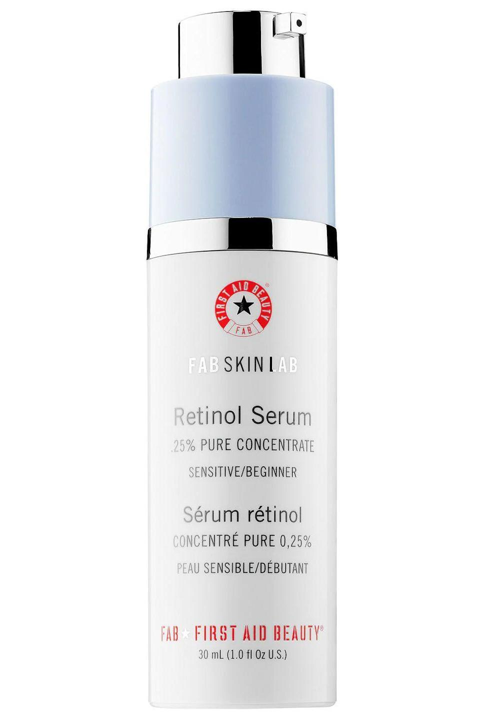 """<p><strong>First Aid Beauty</strong></p><p>sephora.com</p><p><strong>$58.00</strong></p><p><a href=""""https://go.redirectingat.com?id=74968X1596630&url=https%3A%2F%2Fwww.sephora.com%2Fproduct%2Ffab-skin-lab-retinol-serum-0-25-pure-concentrate-P416825&sref=https%3A%2F%2Fwww.cosmopolitan.com%2Fstyle-beauty%2Fbeauty%2Fg32934142%2Fbest-acne-serums%2F"""" rel=""""nofollow noopener"""" target=""""_blank"""" data-ylk=""""slk:Shop Now"""" class=""""link rapid-noclick-resp"""">Shop Now</a></p><p>If you don't have a <a href=""""https://www.cosmopolitan.com/style-beauty/beauty/g25837230/retinol-face-cream/"""" rel=""""nofollow noopener"""" target=""""_blank"""" data-ylk=""""slk:retinol"""" class=""""link rapid-noclick-resp"""">retinol</a> in your skincare routine, WYD? No, seriously—it's the one ingredient that derms swear by when it comes to anti-aging and acne. It speeds up cell turnover (to help fade fine lines and wrinkles), <strong>r</strong><strong>educes oil production, and calms inflammation</strong>. What's not to love?</p>"""