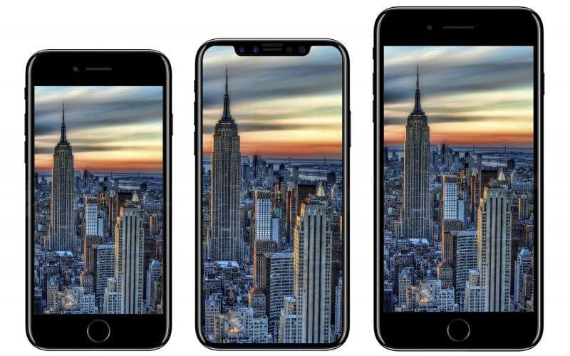 Renders of the iPhone 8 next to the iPhone 7 and 7 Plus - Benjamin Geskin/iDrop News