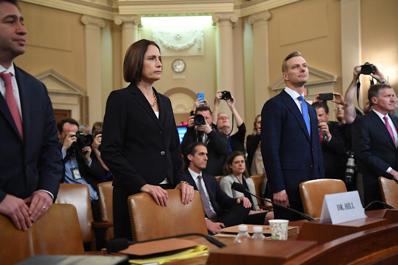 National Security Council official Fiona Hill and State department official David Holmes testify before the Permanent Select Committee on Intelligence on Nov. 21, 2019.
