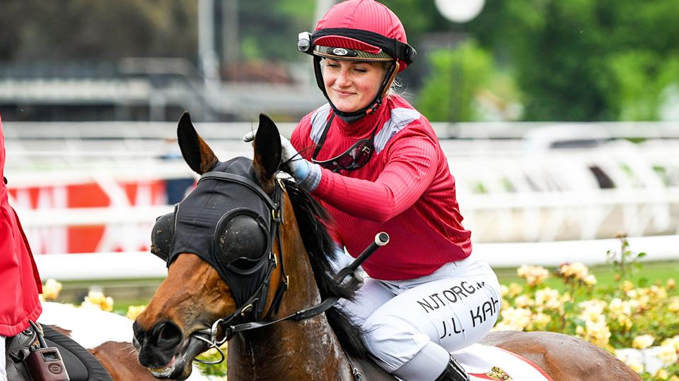 Victoria Quay and Jamie Kah, pictured here after winning the G.H.Mumm Wakeful Stakes on VRC Derby Day.