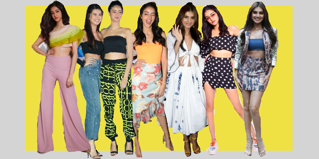 <p>From pop colours to crop tops, from not-so-boring whites to the trusted denims, here's a look at the outfits that these debutants wore while promoting 'SOTY2'. </p>
