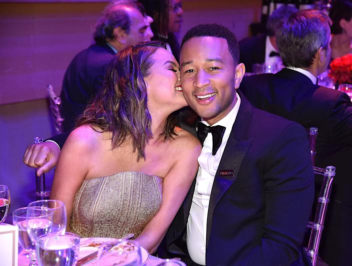 Chrissy Teigen and John Legend attend the Time 100 Gala with drinks by Johnnie Walker at Jazz at Lincoln Center on April 25, 2017 in New York City.