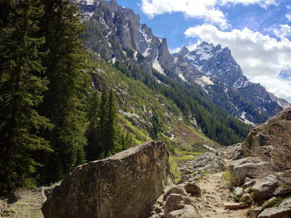 "<p>While you're visiting Grand Teton National Park, make a point of hiking one of the top trails in the park, <a href=""https://www.tripadvisor.com/Attraction_Review-g143029-d104348-Reviews-Jenny_Lake_Trail-Grand_Teton_National_Park_Wyoming.html"" rel=""nofollow noopener"" target=""_blank"" data-ylk=""slk:Jenny Lake Trail"" class=""link rapid-noclick-resp"">Jenny Lake Trail</a>. At 7.7 miles, we're betting that you'll gasp when you see Garnet Canyon, Hurricane Pass, and of course, the once-in-a-lifetime mountain vistas.</p><p><a class=""link rapid-noclick-resp"" href=""https://go.redirectingat.com?id=74968X1596630&url=https%3A%2F%2Fwww.tripadvisor.com%2FAttraction_Review-g143029-d104348-Reviews-Jenny_Lake_Trail-Grand_Teton_National_Park_Wyoming.html&sref=https%3A%2F%2Fwww.redbookmag.com%2Flife%2Fg34357299%2Fbest-hikes-in-the-us%2F"" rel=""nofollow noopener"" target=""_blank"" data-ylk=""slk:PLAN YOUR HIKE"">PLAN YOUR HIKE</a></p>"