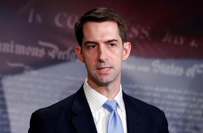 Sen. Tom Cotton, R-Ark., speaks during a news conference about an immigration bill on Capitol Hill, Feb. 12, 2018 in Washington. (Photo: Alex Brandon/AP)