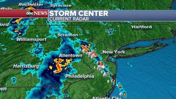 PHOTO: Radar reports Tuesday morning showed a wide swath of storms in the eastern U.S. (ABC News)