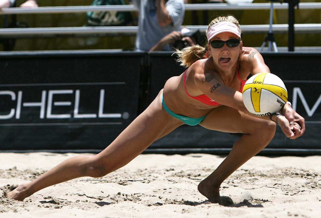 Kerri Walsh passes the ball in the AVP Hermosa Beach Open semifinal match on June 7, 2008 at the Pier in Hermosa Beach, California.