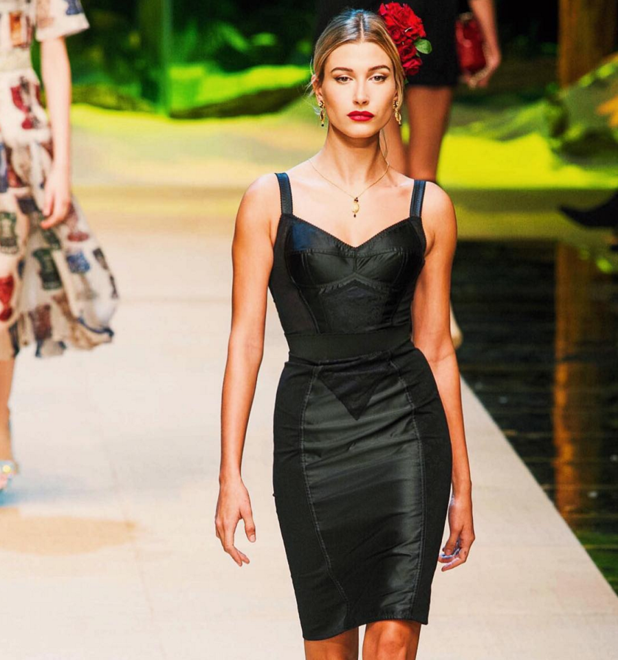<p>Hailey made her first walk in Milan for Dolce & Gabbana's tropical paradise. <i>[Photo: Instagram/haileybaldwin]</i></p>