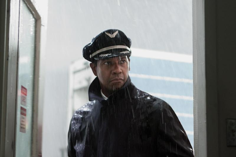 """This film image released by Paramount Pictures shows Denzel Washington portraying Whip Whitaker in a scene from """"Flight."""" Washington plays an airline pilot who, despite being hung-over, drunk and coked-up, manages to bring down a rapidly deteriorating plane in a daring emergency landing on what should have been a routine flight between Orlando, Fla., and Atlanta. (AP Photo/Paramount Pictures, Robert Zuckerman)"""