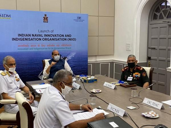 Defence Minister Rajnath Singh on Thursday attended the virtual launch of Indian Naval Innovation and Indigenisation Organsiation (NIIO) (Photo/Twitter/RMO India)