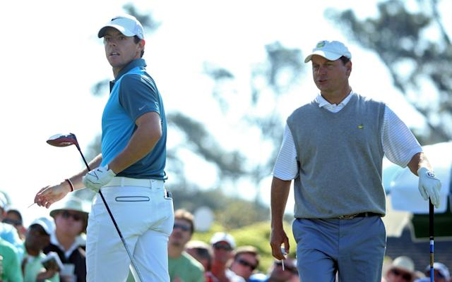 <span>Jeff Knox with Rory McIlroy in 2014</span> <span>Credit: GETTY IMAGES </span>