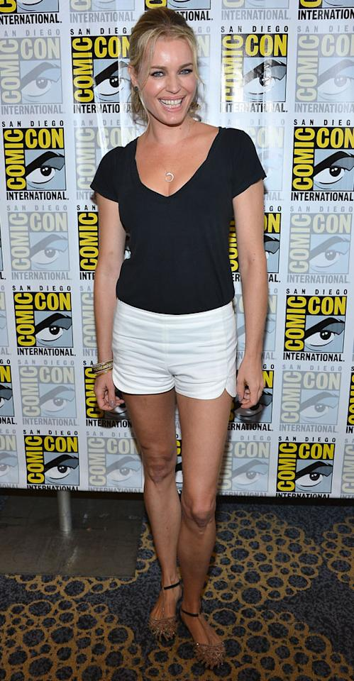"Actress Rebecca Romijn attends the ""Adult Swim - National Terrorism Strike Force: San Diego Sport Utility Vehicle"" panel during Comic-Con International 2012 held at the Hilton San Diego Bayfront Hotel on July 13, 2012 in San Diego, California."