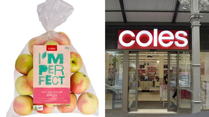 "A bag of Coles branded ""I'm Perfect"" produce and the shopfront of a Coles supermarket. Images: Coles, Getty"