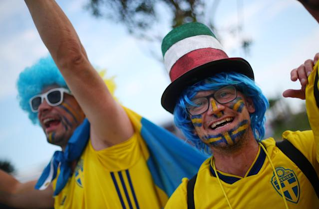 Soccer Football - World Cup - Group F - Germany vs Sweden - Fisht Stadium, Sochi, Russia - June 23, 2018 Sweden fans outside the stadium before the match REUTERS/Hannah McKay