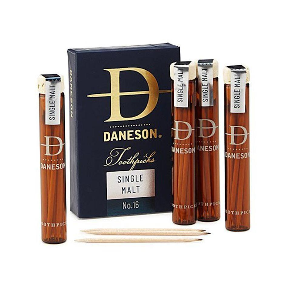 """<p><strong>Daneson</strong></p><p>bespokepost.com</p><p><strong>$36.00</strong></p><p><a href=""""https://go.redirectingat.com?id=74968X1596630&url=https%3A%2F%2Fwww.bespokepost.com%2Fstore%2Fdaneson-bourbon-toothpicks-pack&sref=https%3A%2F%2Fwww.bestproducts.com%2Feats%2Ffood%2Fg3171%2Fbest-whiskey-gifts%2F"""" rel=""""nofollow noopener"""" target=""""_blank"""" data-ylk=""""slk:Shop Now"""" class=""""link rapid-noclick-resp"""">Shop Now</a></p><p>If you're gifting for a Scotch lover, surprise them with these clever single malt-infused toothpicks from Daneson — they're the perfect thing to have on-hand after a meal.</p>"""