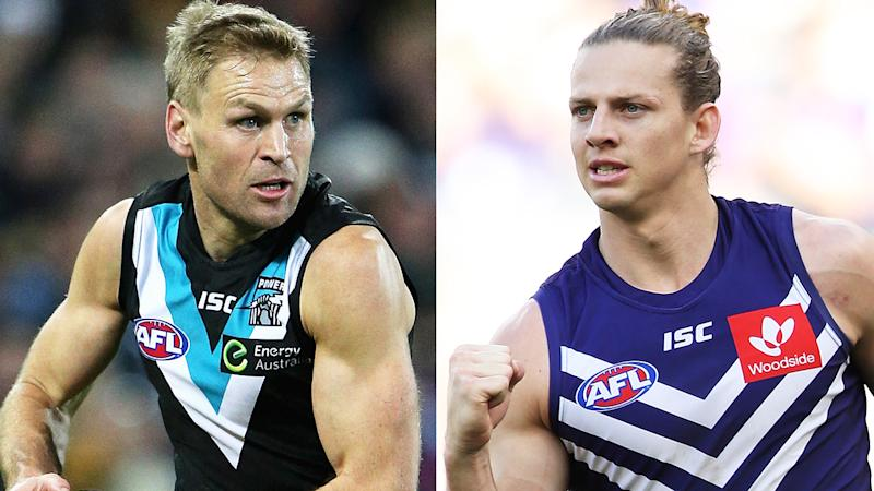 Kane Cornes is pictured next to Nat Fyfe ion a 50/50 split image.