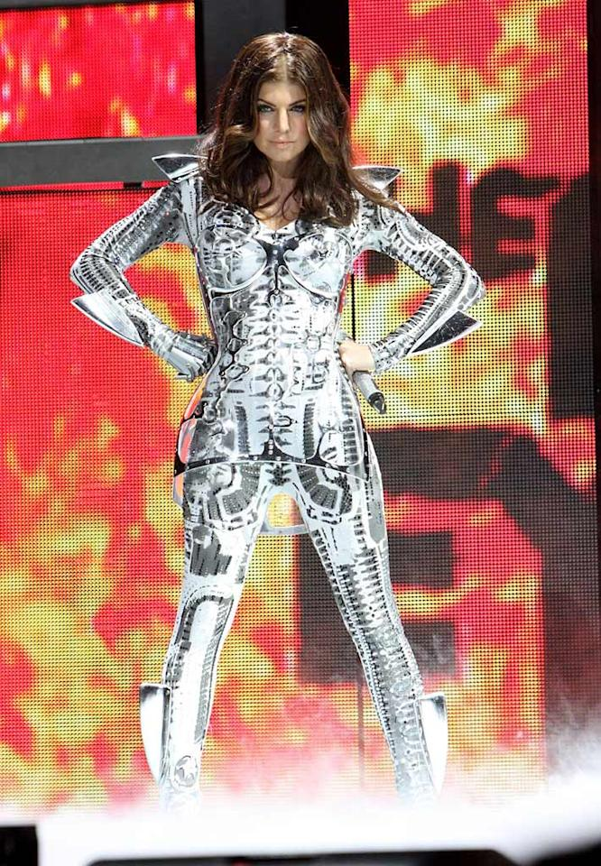 """Fergie looked like an extra from """"Tron"""" in her futuristic skeletor-inspired jumpsuit while performing at the the Black Eyed Peas' """"The E.N.D."""" concert in Philadelphia. More like the end of fashion! Bill McCay/<a href=""""http://www.wireimage.com"""" target=""""new"""">WireImage.com</a> - March 3, 2010"""