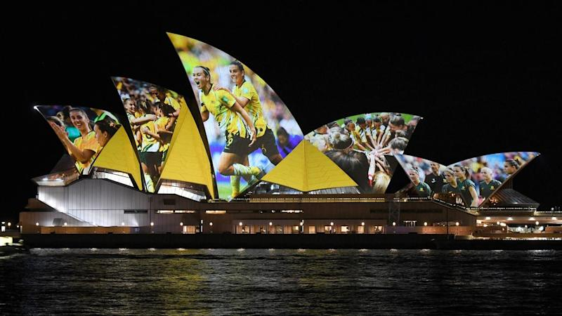 The Opera House lights up after the Australia-NZ bid wins the 2023 Women's World Cup hosting rights