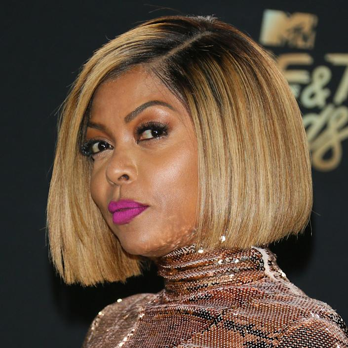 """Taraji P. Henson's complexion can stand up to the streaks of gold in her streamlined bob. The tones work together rather than providing stark contrast. """"This is such a great look for anyone looking for a dramatic change with less maintenance,"""" says Jung of Henson's look, which has a root shadow done by <a href=""""https://www.instagram.com/kymmscreations/?hl=en"""" rel=""""nofollow noopener"""" target=""""_blank"""" data-ylk=""""slk:Kymm's Creations"""" class=""""link rapid-noclick-resp"""">Kymm's Creations</a>. """"The color is flawless and modern. I love warm blonde tones because of how they brighten the face and they can work on everyone."""""""