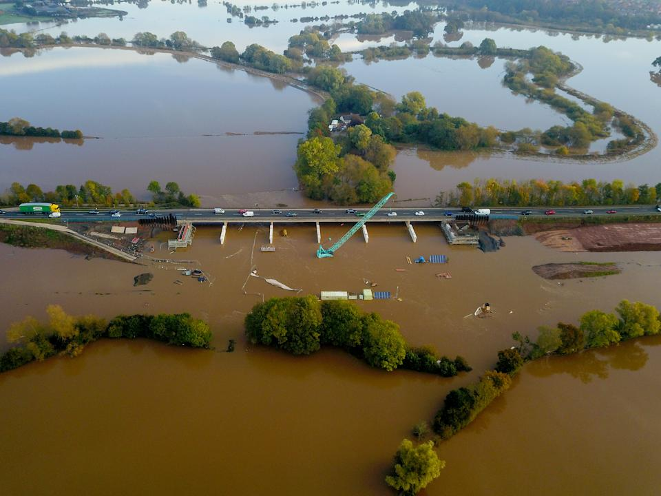 Aerial view of flooding in Worcester. Heavy rain over the weekend has caused many roads to be flooded and there are also flood warnings across the county. (swns)
