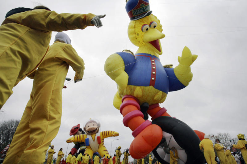 FILE - In this Nov. 23, 2006, file photo, the Sesame Street Big Bird balloon sways in the wind during the annual Thanksgiving Day Parade in Philadelphia. Officials with SeaWorld Entertainment and Sesame Workshop announced Monday, Oct. 21, 2019, that they are opening the country's second Sesame Place park in San Diego in 2021. The first Sesame Place opened almost 40 years ago outside Philadelphia. (AP Photo/Matt Rourke, File)