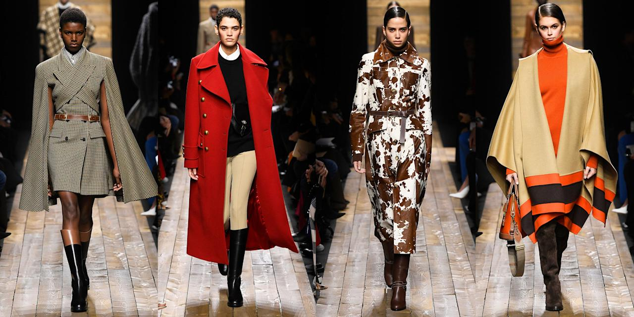 """<p>For Michael Kors' fall 2020 collection, the designer presented a lineup that was """"town and country...relaxed chic with an urban sense of polish."""" Models were wrapped up in ponchos, bathrobe coats, cozy scarfs, and dramatic blanket capes. Layering was a key theme in the outfits; it wasn't unusual for a model to be clothed in a top, sweater, <em>and</em> a poncho. Kors also included some more tailored styles in his cozy collection, like riding pants and a cape dress. For the most part, the lineup retained a gray and neutral color palette, save for pops of red and orange here and there.  Check out the full Michael Kors Collection for fall 2020, ahead.</p><p>•••<br><br><em>For more stories like this, including celebrity news, beauty and fashion advice, savvy political commentary, and fascinating features, sign up for the </em>Marie Claire<em> newsletter (<a href=""""https://link.marieclaire.com/join/3oa/mar-newsletter?authId=F0CC0C27-80DA-4734-ABDF-E4115B84A56B&maj=WNL&min=ARTICLES"""" target=""""_blank"""">subscribe here</a>).</em></p>"""