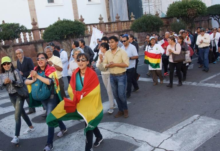 People hold a protest following the election results in Sucre, Bolivia