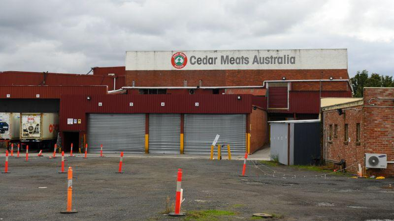 Pictured is the Cedar Meats Australia meat processing facility in Melbourne where a coronavirus outbreak has occurred.