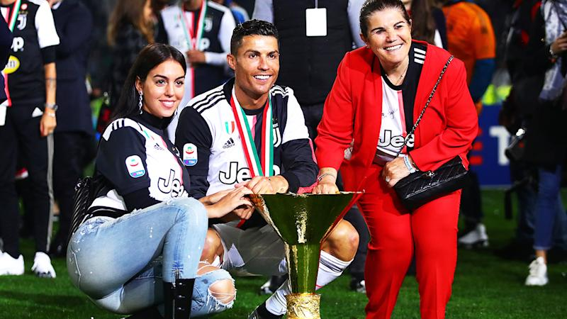 Cristiano Ronaldo, pictured here with girlfriend Georgina Rodri­guez and mother Maria Dolores dos Santos Aveiro in May 2019.