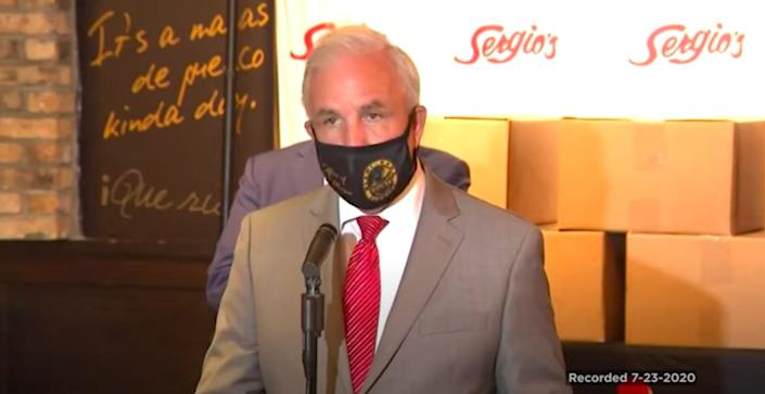 Miami-Dade Mayor Carlos Gimenez gives a press conference about the coronavirus outbreak on July 23, 2020.