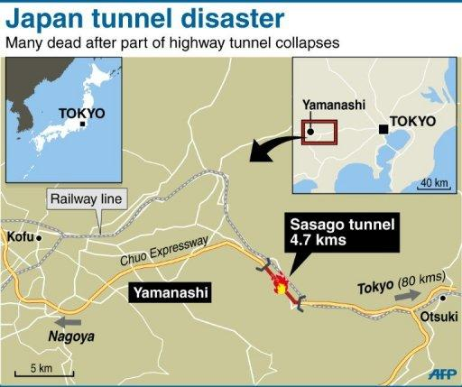 <p>Graphic map locating the Sasago tunnel in Japan. On Monday, the Japanese government ordered inspections of 49 highway tunnels as the focus of investigations at Sasago turned to decaying ceiling supports.</p>