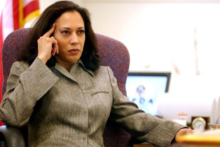 <p>Harris was elected district attorney in California in 2003. She was the first female D.A. in San Francisco's history, as well as the first Black woman and South Asian American woman ever elected to serve in the role. </p>